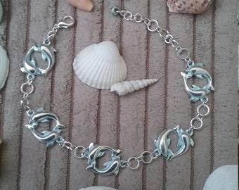Silver Blue Dolphin Bracelet