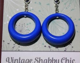 Handmade repro blue loop earrings