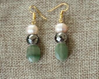 Freshwater Pearl & Green Gemstone Earring, Gold