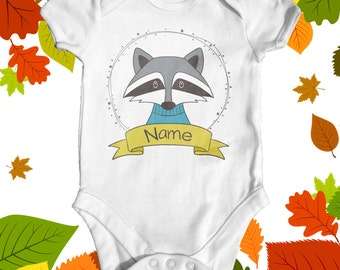 Personalised Raccoon Baby Bodysuit | Cute Baby Clothes | Going Home Outfit | Baby Shower Gift | Custom Baby Bodysuit | Animal Baby Bodysuit