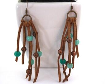 leather earrings, long earrings, turquoise earrings, bohemian earrings, boho chic earrings, bohemian style earrings, beaded earrings