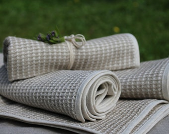 Natural organic Linen towel set Heavy LINEN Waffle Bath Towel eco towel, Sauna towel