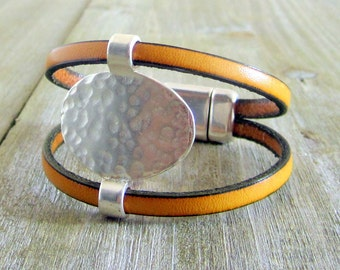 Yellow mustard Piece silver Metal, leather bracelet clasp plated silver loving.