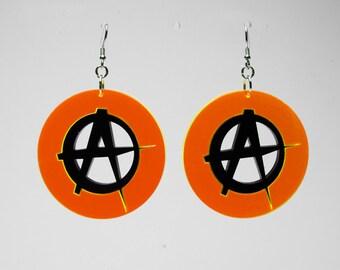 """1,8"""" Plexiglass earring mounted in 925 sterling silver, Anarchy orange Fluo"""