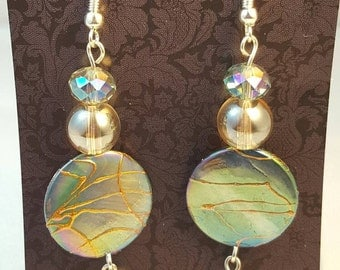 Handmade dangle earrings with glimmering luster beads