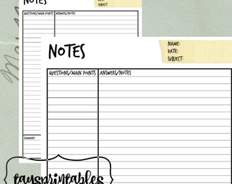 Cornell Notes Printable