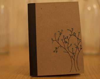 Embroidered A6 Notebook- Brown with Tree Design