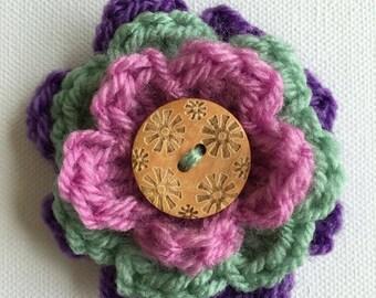 Crochet Flower Button Brooch