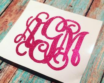 GLITTER monogram decal - glitter monogram - Monogram decal - monogram sticker - monogram initials - glitter - glitter vinyl -
