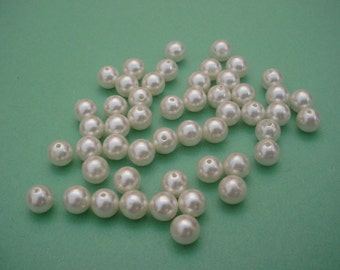 50 White 8mm Pearls