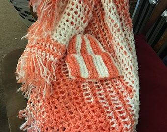 Salmon and white Baby Blanket with matching Hat
