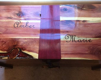 Customized Cedar Hope Chest with Purple Heart Accents