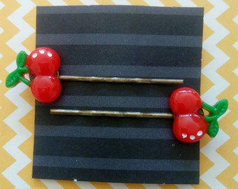 Red Cherry Hair Clips / Bobby Pins