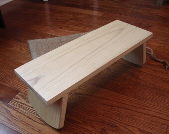 Folding Meditation Bench / Stool / Yoga Seat, Poplar With Contoured Legs and Optional Burlap Carrying Bag