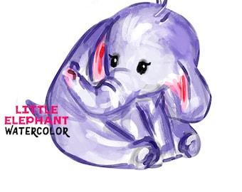 Little Elephant Watercolor clipart