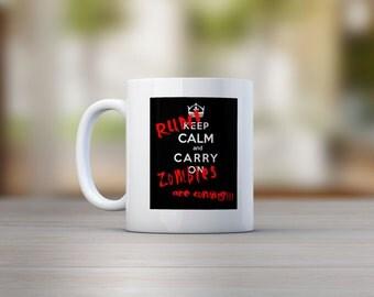Run! Zombies Are Coming!!! Mug, Funny, Geeky, Nerdy, Novelty, Slogan Gift