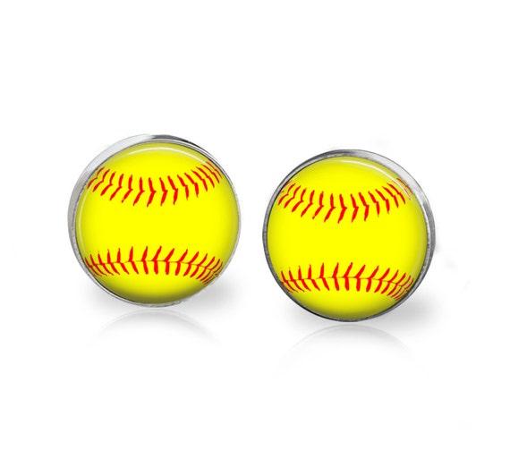 softball stud earrings stainless steel 12mm sensitive ears