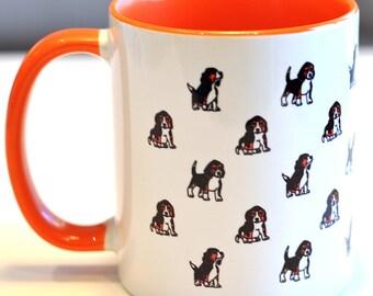 Beagle Mug Dog Puppy Print Pattern Orange