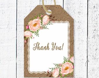 Rustic Favor Tags, Burlap Thank you tags, Printable favor tag, Baby shower thanks, Baby shower party decor, Burlap favor tag, R-1