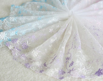 "5 yard 16cm 6.29"" wide pink/purple/blue mesh embroidery lace trim trims ribbon L22K169 free ship"