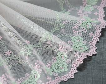 "5 yard 15cm 5.9"" wide green pink mesh embroidery lace trim ribbon L22K425 free ship"