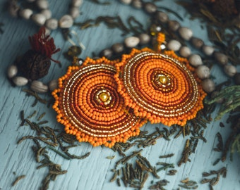 Orange Ethnic Earrings