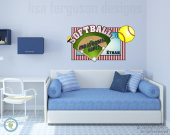 Personalized Softball Fabric Wall Mural for Kids