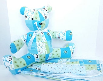 baby boy blanket, burp rags, and bear