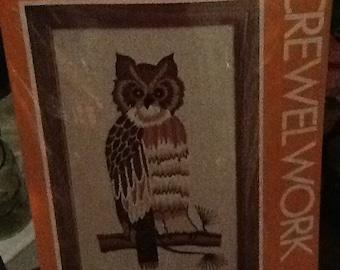 Vintage Crewelwork Owl kit