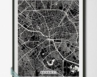 Bucharest Map, Romania Poster, Bucharest Print, Bucharest Poster, Romania Print, Romania Map, Street Map, Wall Print, Dorm Decor