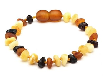 Baltic AMBER TEETHING BRACELET/ Anklet  - Raw Multi -Colour, Nugget Bead, 16.5cm