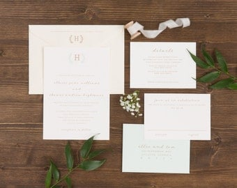 The Sage Wedding Collection by Paper Daisies, Invitation Suite, Monogram, SAMPLE SET