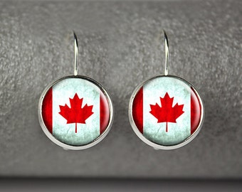 Canadian flag earrings, Canada flag earrings,  Canada flag jewelry