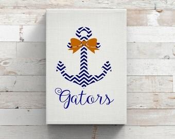 University Of Florida Gators Anchor Bow-Vinyl Car Decal-Coffee Mug-Canvas-Orange Blue-Decor-College-Yeti