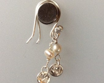 Reticulated silver and freshwater pearl earrings