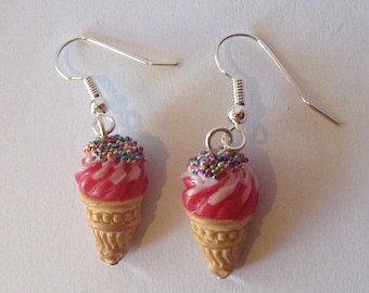 Earrings Ice cream Cone raspbeery
