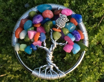 Colorful owl tree pendant