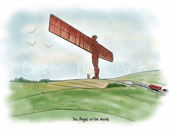 Angel of the North, Gateshead, Tyne and Wear; Drawing; Digital Art; Mounted Print