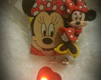 Custom Handmade Minnie Mouse Badge Reel