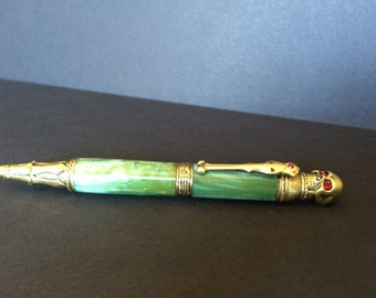 Toxic Green Skull Twist pen