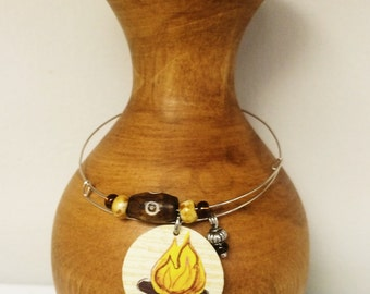 Upcycled Gift Card Bracelet - Campfire
