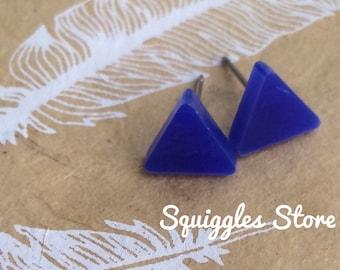 Hypoallergenic Stud Earrings with Titanium Posts - Navy Blue Triangle Minimalist Geometric - Sensitive Ears