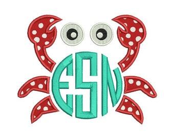 Crab Applique Machine Embroidery Monogram Frame Design - Summer Applique design - Embroidery for children - INSTANT DOWNLOAD - 4X4 5X7 6X10