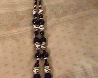 Black white zebra print necklace