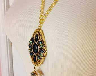 Green and Gold Rhinestone Charm Necklace