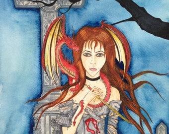 Fantasy painting: geaveyard dragon