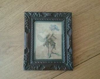 Antique Original Etching of Drummer Boy/Jester - by Cochon 1702 - in wood frame