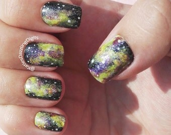 Handpainted sparkly green and yellow galaxy square fake press on nails