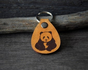 Panda bear - genuine leather keychain