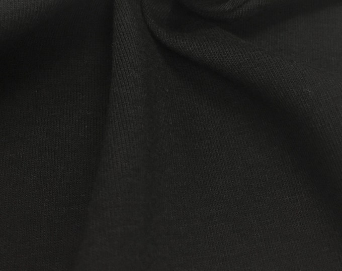 Cotton Jersey Knit Fabric With Spandex (Wholesale Price Available By The Bolt) USA Made Premium Quality - 3090 Black - 1 Yard